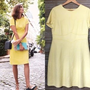 Boden Sylvie Sheath Shift Yellow Tweed Dress